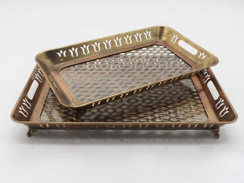 ANTIK GOLD HASIR DESEN DIKDORTGEN 2 LI TEPSI  52x46 CM (4)